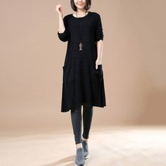 Women's Autumn Long Sleeve Round Neck Loose Sweater Black Dress