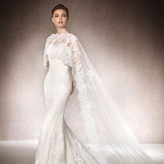 The cape of this San Patrick gown is stunning #bridetobe