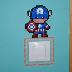 Captain America light switch frame hama beads by  thehamaproject