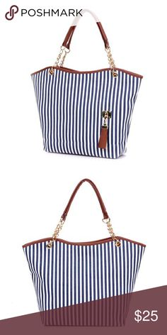 "Blue Striped Tote Bag Blue Striped Tote Bag. Dimension: 11 1/2""L x 3 1/2""W x 12""H. Strap length: 17 3/4"". Material: canvas. Bags Totes"