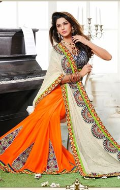 Picture of Royal off White and Orange Wedding Saree Online
