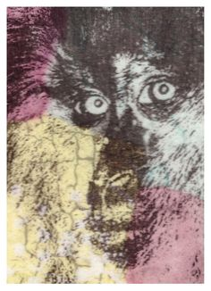 Monkey Business ACEO collage. A play on words-- it's really a baboon transparency that I though was compelling and just a little creepy by paperwerks on Etsy #etsy