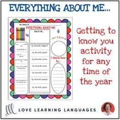 All About Me Activity - 1 Page Printable - Distance Learning Get To Know You Activities, All About Me Activities, Everyday Activities, Grade My Teacher, Teacher Name, Get To Know Me, Getting To Know You, Printable Worksheets, Printables