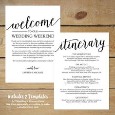 Rustic Wedding Itinerary Template / Printable Wedding Welcome Letter / Welcome Bag Note for Wedding Destination Wedding Itinerary, Wedding Itinerary Template, Wedding Templates, Wedding Welcome Letters, Welcome To Our Wedding, Letter Templates Free, Rustic Wedding, Nautical Wedding, Diy Wedding