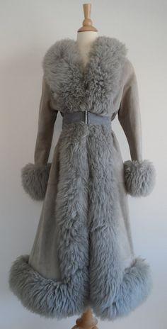 Vintage 60s Grey Shearling Sheep Wool Fur Suede Leather Princess Coat Jacket S M