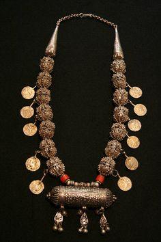 Old Yemen Necklace |  Origin: Taiz, Yemen | Silver and coral.
