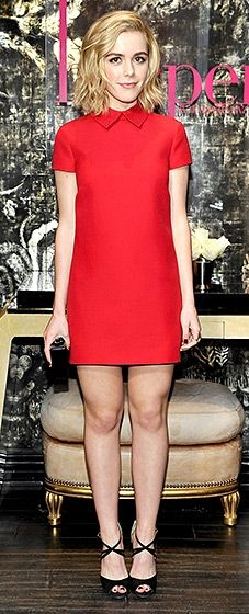 Adorable! The Mad Men actress looked perfectly playful in a red mini with a high neckline—and a high hemline. Jimmy Choo heels and a square clutch finished the look.