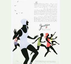 ad for Jantzen, 1929 Vintage Branding, Vintage Ads, Vintage Posters, Retro Ads, Vintage Vogue, 1920s Advertisements, Workouts To Get Abs, Rene Gruau, Clark Art