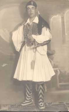 Post with 439 views. My Grandfather's portrait from the Greek military academy in full Evzone uniform. Greek Costumes, Men's Costumes, Greek Independence, Greek Traditional Dress, Military Academy, Strange Photos, Life Choices, Back In The Day, Old Photos