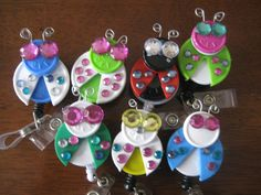 Flip cap retractable badge holders Ladybugs by FlashUrBadge, $5.00