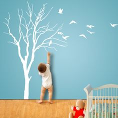 Wall Decals ELEGANT TREE with Birds Also Watch Installation VIDEO. $65.00, via Etsy.