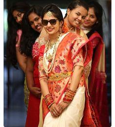 Bridal saree Indian Wedding Couple Photography, Indian Wedding Bride, Wedding Couple Photos, South Indian Bride, Wedding Photography Poses, Indian Weddings, Wedding Pictures, Portrait Photography, Funny Wedding Poses