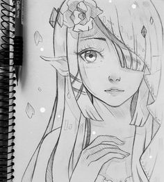 Zelda - wedding+ by larienne artist larienne anime sketch, d Easy Pencil Drawings, Art Drawings Sketches, Cute Drawings, Manga Drawing, Manga Art, Anime Art, Zelda Drawing, Anime Sketch, Art Reference