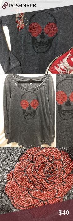 Torrid Distressed Skull Rose Top This can be worn as a Top or sweatshirt, either embroidered detail - please note this came distressed with raw hem and vintage feel torrid 0 torrid Tops Sweatshirts & Hoodies