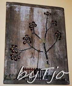 Botanical Tree Collage Minimalist Nature Art Tree Sculpture by Tjo   MakeDoMercantile - Folk Art & Primitives on ArtFir