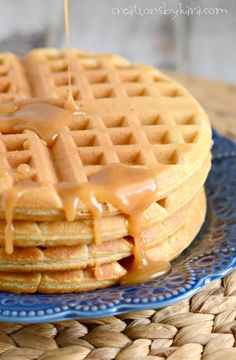 Peanut butter waffles with homemade peanut butter syrup.