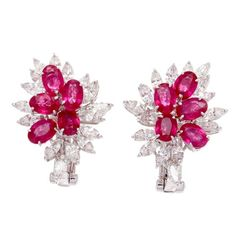 Diamond and ruby earrings by Van Cleef and Arpels. | Vintage Style Rings