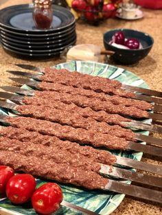 Middle East Food, Middle Eastern Recipes, Lamb Skewers, Kabobs, Grilled Tomatoes, Grilled Vegetables, Saffron Rice, Food Poster Design, Eastern Cuisine
