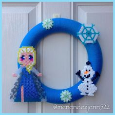 "Frozen Inspired Elsa Olaf Perler Bead & Blue Yarn 12"" Wreath w/ Glow-in-the-dark Snowflakes by ProudRunnerTwins522"