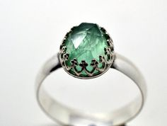 Fluorite Ring, Handcrafted Cocktail Ring, Green Gemstone Engagement Ring, Sterling Silver Wedding Ring