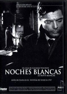 """""""Noches Blancas"""" es una película italofrancesa de 1957 basada en la novela homónima de Fiódor Dostoyevski. La película fue dirigida por Luchino Visconti, con Maria Schell y Marcello Mastroianni en los papeles principales."""