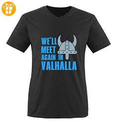 Comedy Shirts - We'll meet again in valhalla - VIKINGS - Herren V-Neck T-Shirt - Schwarz / Blau-Eisblau Gr. XXL - Shirts mit spruch (*Partner-Link)