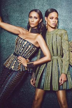 Iman, and Rihanna, all in Balmain fall 2014 safari style fashion for W Magazine.