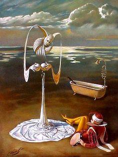 by Michael Cheval Contemporary Artists, Modern Art, Arte Lowbrow, Art Visionnaire, Pierrot Clown, Art Magique, Illusion Paintings, Surrealism Painting, Salvador Dali