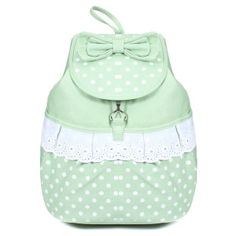 Sweet Bowknot Polka Dots Girls Backpack Schoolbag