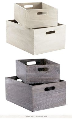 Wood bins from Container Store