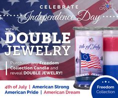 Let freedom ring! We are proud to introduce the new FREEDOM COLLECTION now featuring 4 unique scents with men's & women's jewelry inside. For a limited time only, receive double jewelry with every candle from this collection.