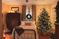 Great idea for decorating more than just the public rooms of the house for Christmas - Christmas Home Tour: Tour A Beautiful Folk Victorian