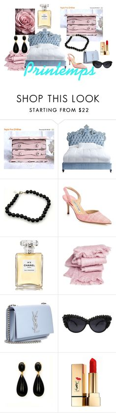 """PRINTEMPS"" by suninvirgo ❤ liked on Polyvore featuring Haute House, Tiffany & Co., Manolo Blahnik, Chanel, abcDNA and Yves Saint Laurent"
