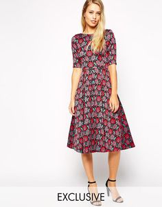 Closet   Closet Skater Dress in Tapestry Floral Embroidery at ASOS