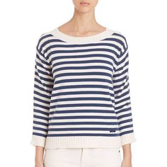 Burberry Brit Striped Stretch-Cotton Sweater ($580) ❤ liked on Polyvore featuring tops, sweaters, apparel & accessories, ink blue, striped pullover, blue top, 3/4 sleeve tops, striped sweater and nautical sweater