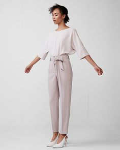 High Waisted Tie Waist Ankle Dress Pant    #workwear #businesscasual