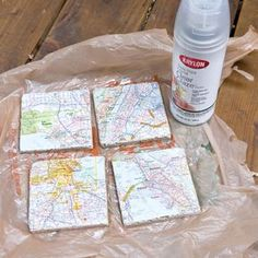 Upcycled Map Tile Coasters - works with scrapbook paper and photos too (Diy Photo Coasters) Diy Craft Projects, Tile Projects, Map Crafts, Mod Podge Crafts, Crafts With Maps, Travel Crafts, Map Coasters, Photo Coasters, Diy Tile Coasters