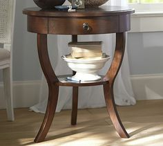 Click on this image to see the cream color. I love these night stands. Carrie Pedestal Bedside Table #potterybarn