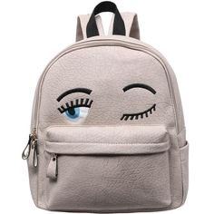 Grey Eyes Pattern PU Backpack (€14) ❤ liked on Polyvore featuring bags, backpacks, accessories, bolsos, mochilas, grey, grey bag, day pack backpack, daypack bag and pattern bag