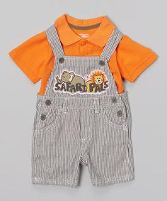 Love this Gray Stripe 'Safari Pals' Overalls & Orange Polo - Infant on #zulily! #zulilyfinds