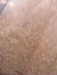 Creamy Wedding Lace Fabric French Embroidered Lace by lacetime
