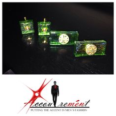 Green and gold Cufflinks by Accoutremént