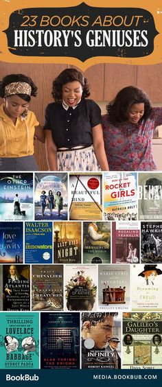 23 Books About History's Geniuses 23 fascinating books about history's geniuses, including Hidden Figures by Margot Lee Shetterly and other great books for women. Related posts: school for interior design design near me. I Love Books, Great Books, Books To Read, Up Book, Book Nerd, Book Suggestions, Book Recommendations, Reading Lists, Book Lists
