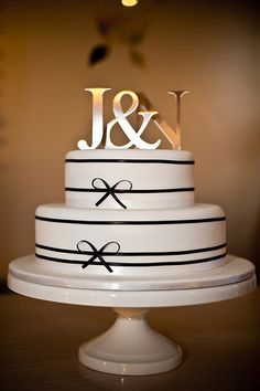 silver black & white cake