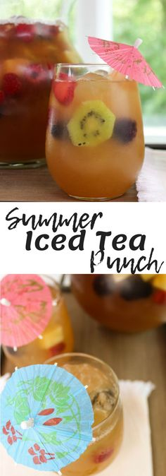 Summer Iced Tea Punch perfect for a crowd made with Milos Tea, pineapple juice, ginger ale and fresh fruit. Iced Tea Recipes, Easy Drink Recipes, Summer Recipes, Recipes Dinner, Potato Recipes, Pasta Recipes, Crockpot Recipes, Soup Recipes, Breakfast Recipes