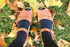 Lotta From Stockholm Tan Peep Toe Clogs Autumn Leaves
