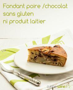Gâteau poire chocolat sans gluten ni PLV à découvrir sur :  https://cuisine-saine.fr/recette-sans-gluten-ni-lait/gateau-poire-chocolat-sans-gluten-ni-plv  via @karenchevallier