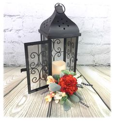 Wedding Centerpiece, Lantern Flowers, Wedding Decorations, Rustic Wedding, Silk Flower Centerpiece, Custom-made in your colors! by FloralDesignsbyJen on Etsy https://www.etsy.com/listing/512534217/wedding-centerpiece-lantern-flowers