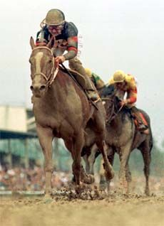 Red Bullet and Jerry Bailey pull away from Kentucky Derby winner Fusaichi Pegasus in the 2000 Preakness, with Impeachment, third in the Derby, again getting the show spot in the Preakness.