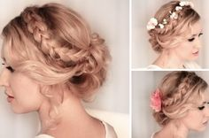 Braided updo hairstyle for medium untill long hair tutorial Wedding, prom